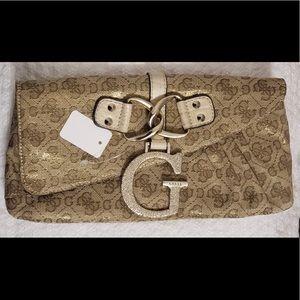 GUESS Gold Glitter Wallet + Clutch